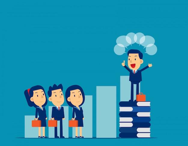 Leader che parla al collega, al professionista, alla comunicazione.