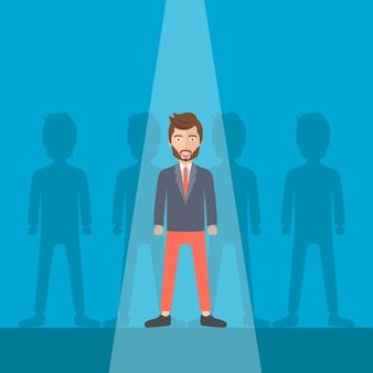 Leader in piedi fuori dalla folla