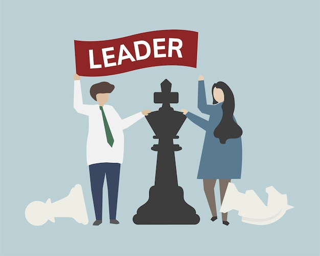 Leadership con illustrazione del concetto di strategia di scacchi