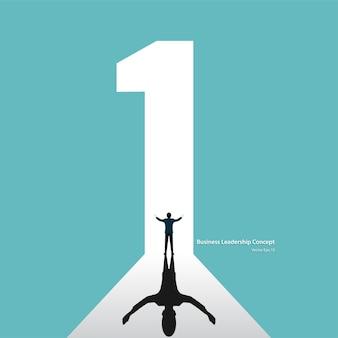Leadship concetto aziendale. simbolo numero uno crescita al rialzo del business