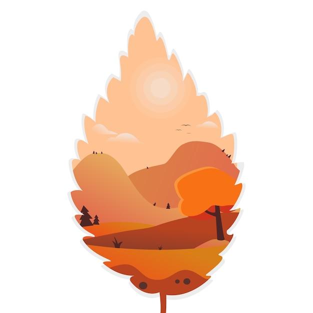 Leaf masking autumn mountain landscape