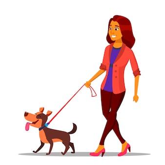 Leash concept. donna che cammina con il cane al guinzaglio.