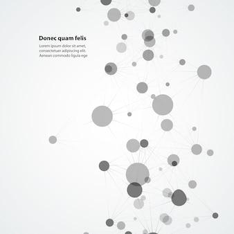 Legami molecolari collegati in ordine casuale. sfondo di attualità per la tecnologia e il futuro