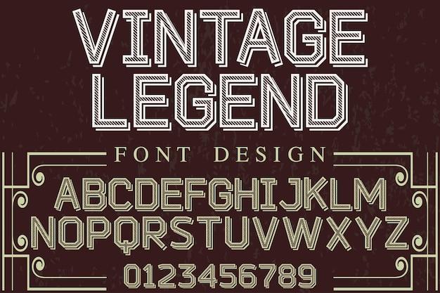 Leggenda del design di carattere vintage alfabeto