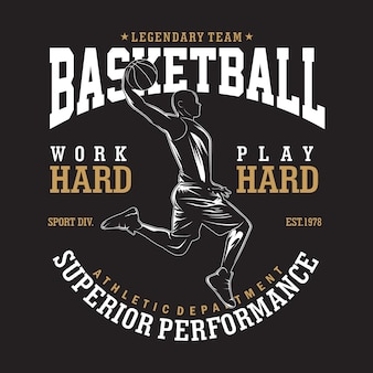 Leggendaria illustrazione di basket in design piatto