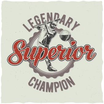 Leggendario poster del campionato di baseball
