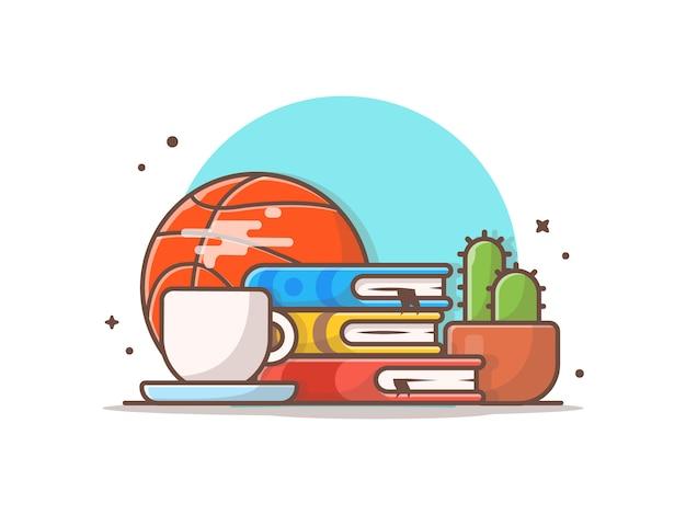 Leggendo con l'illustrazione dell'icona della palla del canestro, del caffè, del cactus e dei libri