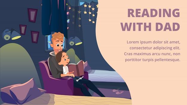 Leggendo con papà banner padre leggi a piccolo figlio