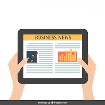 Leggendo notizie economiche sul tablet