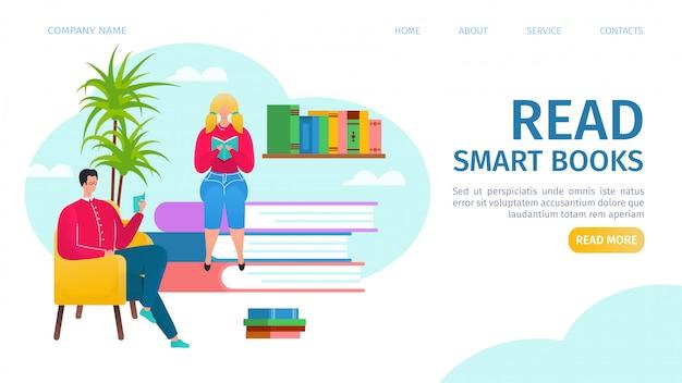 Leggere libri di atterraggio illustrazione. uomo e ragazza che leggono, seduti su pile di libri in biblioteca. istruzione e conoscenza, concetto di letteratura, biblioteca online per studenti e università.