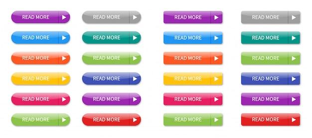 Leggere più pulsanti colorati set isolato.