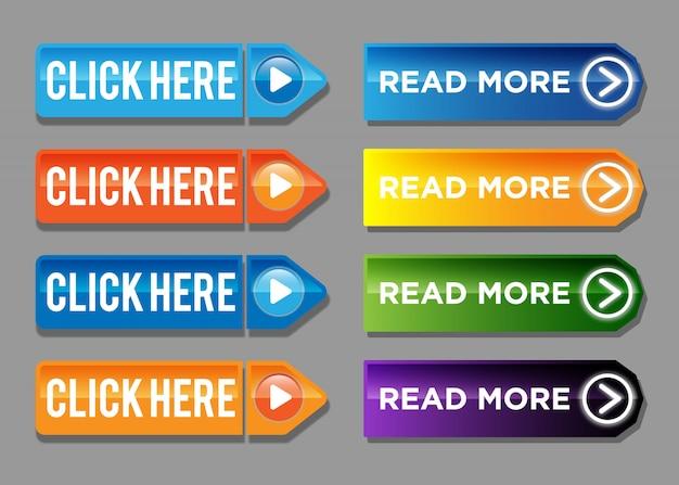 Leggi di più e clicca qui set di pulsanti colorati