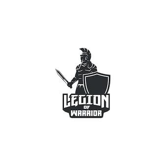 Legione di guerriero con logo spada e scudo