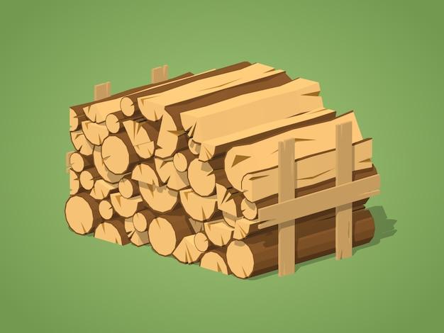 Legna da ardere accatastati in pile. illustrazione isometrica di vettore lowpoly 3d