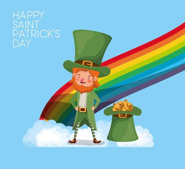 Lemprechaun con font arcobaleno saint patricks day