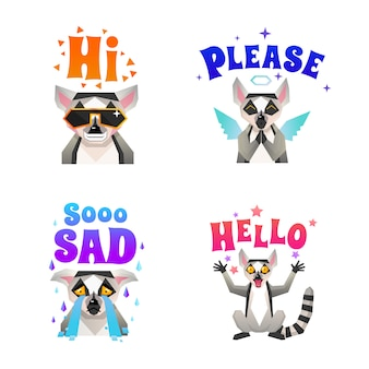 .lemur emotions polygonal icons set
