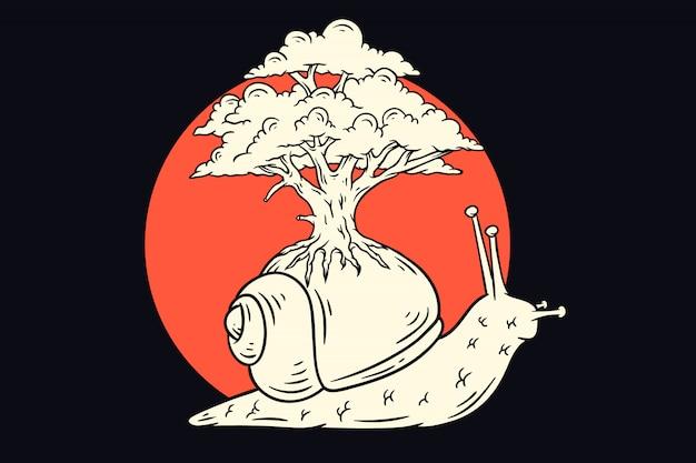 Lentamente lumaca con l'illustrazione dell'albero