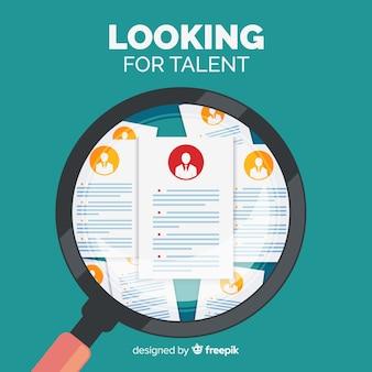 Lente d'ingrandimento alla ricerca di talento sfondo