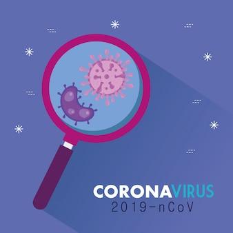Lente d'ingrandimento con particelle di coronavirus 2019 ncov