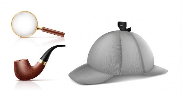 Lente d'ingrandimento d'annata, retro tubo di tabacco da fumo e cappuccio del deerstalker icone realistiche di vettore 3d s