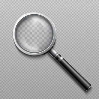 Lente di ingrandimento realistico di vettore, strumento scientifico della lente d'ingrandimento isolato. strumento di ingrandimento per la ricerca, lo strumento di vetro e l'ingrandimento ottico illustrazione della lente d'ingrandimento