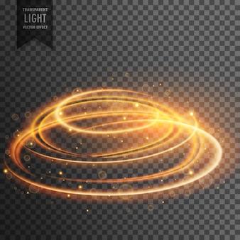 Lente incandescente bagliore effetto luce trasparente con le scintille