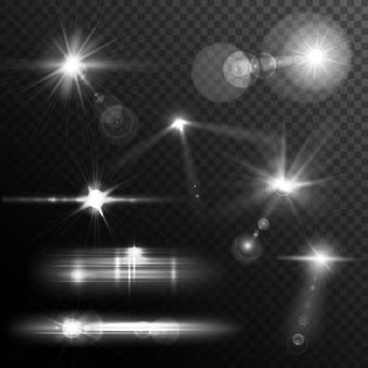 Lente realistica si accende di luci a stella e bagliore di elementi bianchi su sfondo trasparente