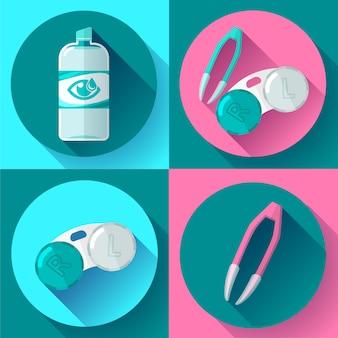 Lenti a contatto, contenitore, soluzione quotidiana, colliri e pinzette