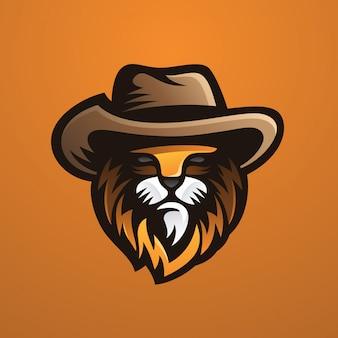 Leone con cappello da cowboy