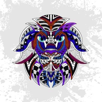 Leone decorato con forme astratte