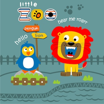 Leone e pinguino nello zoo