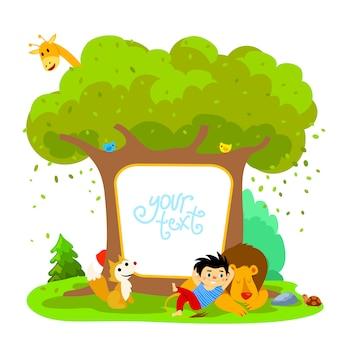 Leone e ragazzo addormentati in foresta. e animali diversi. illustrazione