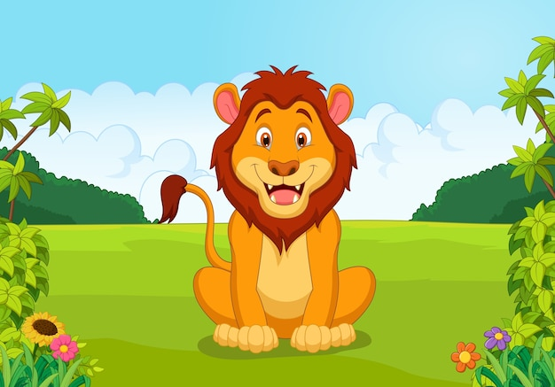 Leone felice dei cartoni animati