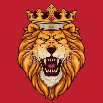 Leone ruggente che indossa la corona dei re