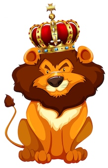 Leone selvaggio che indossa la corona