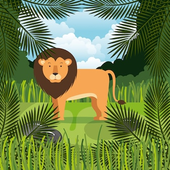 Leone selvaggio nella scena della giungla