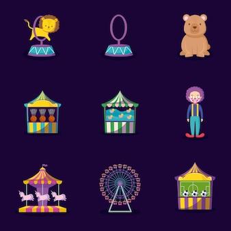 Leone sveglio con il circo delle icone dell'insieme