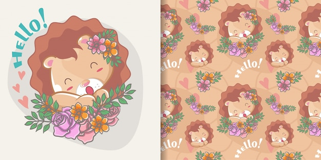 Leone sveglio felice disegnato a mano con fiori e set di pattern