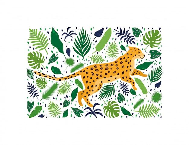 Leopardi circondati da foglie di palma tropicali