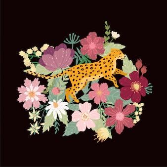 Leopardo in nero. leopardo circondato da bellissimi fiori. elegante estate vettoriale.