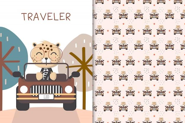 Leopardo sveglio che guida un'automobile e un modello senza cuciture nel contesto bianco