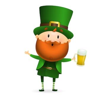 Leprechaun barbuto con bicchiere di birra
