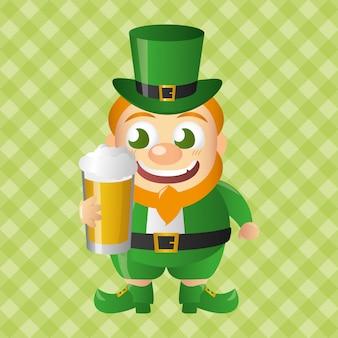 Leprechaun con birra, felice giorno di san patrizio
