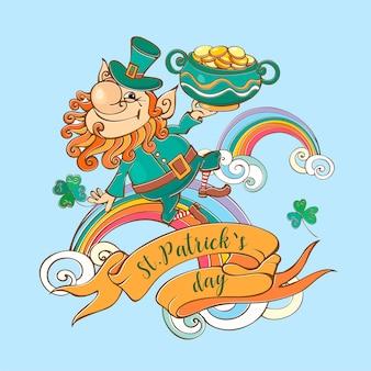 Leprechaun con monete st. patrick's day card.