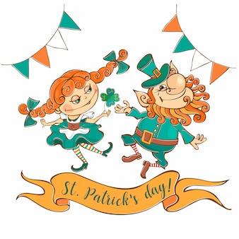 Leprechaun danzante e ragazza carta di giorno di san patrizio.
