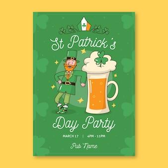 Leprechaun danzante e una pinta di birra st. giorno di patrick