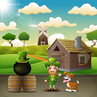 Leprechaun di cartone animato sullo sfondo di fattoria con un cane