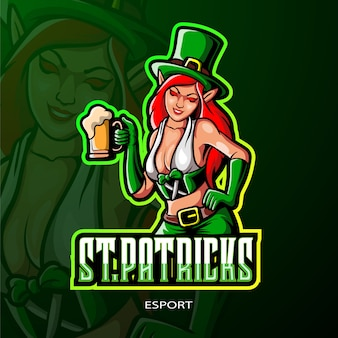 Leprechaun femminile di san patrizio logo design esport