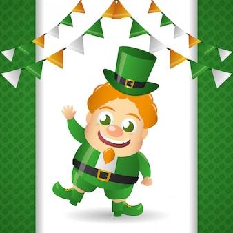 Leprechaun irlandese con cappello verde, giorno di san patrizio