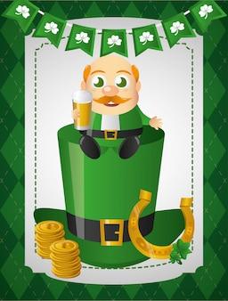 Leprechaun irlandese con il ferro di cavallo dorato che si siede sul cappello verde
